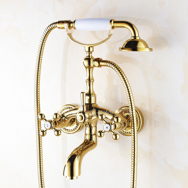 Vintage Rose Gold Wall Mount Bathtub Shower Faucet