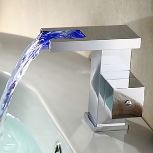 Designed Waterfall Sqaure Single Handle LED Automatic Sink Faucet