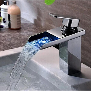 Top Rated Silver Waterfall Automatic LED Sink Faucet