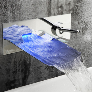 Fashion Waterfall Wall Mounted LED Automatic Faucet