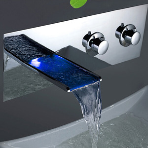 Professional Waterfall Wall Mounted Two Handles LED Faucet