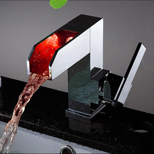 Modern Square Shaped Copper Tall LED Bathroom Sink Faucet