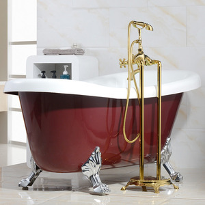 Vintage Freestanding Copper Gold Bathtub Shower Faucet
