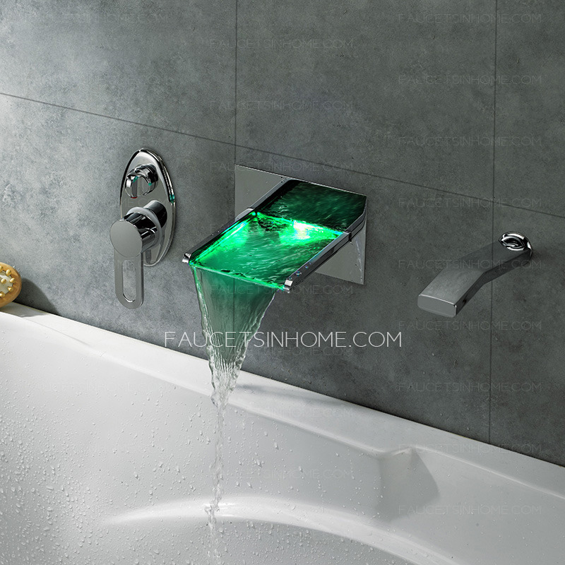 Modern Waterfall Wall Mounted Led Bathroom Shower Faucet