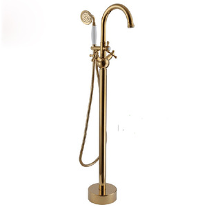 Vintage Freestanding Gold Bathtub Cross Handle Shower Faucet
