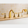Vintage Golden Five Hole Sidespray Roman Bathtub Shower Faucet