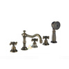 Antique Bronze Cross Handle Five Hole Bathtub Shower Faucet