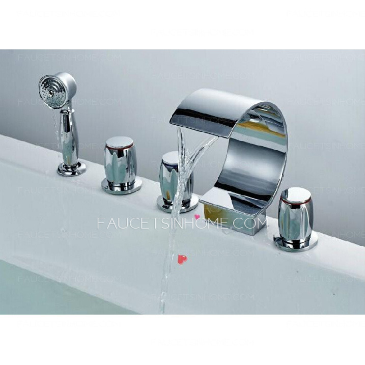 cool waterfall five hole sidespray bathtub shower faucet