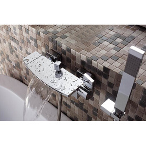 Designed Waterfall Wall Mount Three Hole Bathtub Shower Faucet