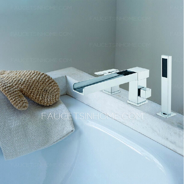 Modern Side Spray Three Hole Waterfall Bathtub Shower Faucet