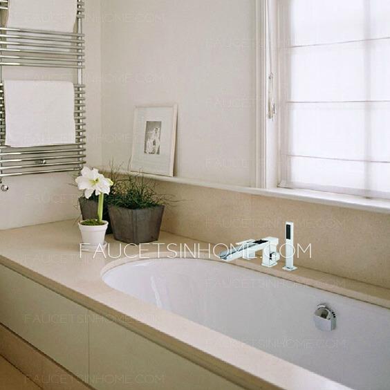 Side Spray Three Hole Waterfall Bathtub Shower Faucet