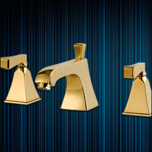 Modern Golden Three Hole Two Handles Roman Bathtub Faucet