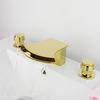 Modern Waterfall Gold Three Hole Roman Bathtub Faucet