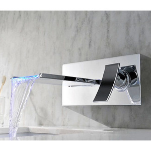 Modern Waterfall One Hole Wall Mounted LED Faucet For Bathroom