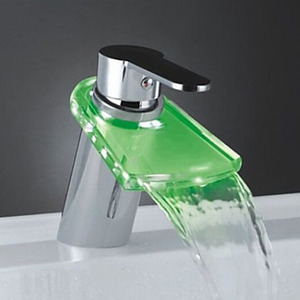 Cheap Simple Single Handle LED Bathroom Sink Faucet