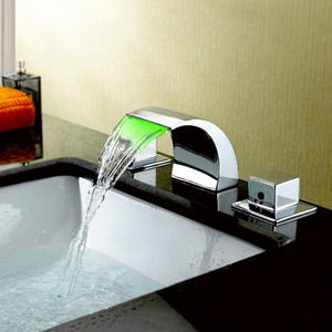 Discount Bend Waterfall Three Hole LED Faucet For Bathroom