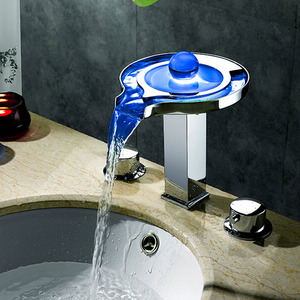 High End Waterfall LED Deck Mounted Bathroom Faucet