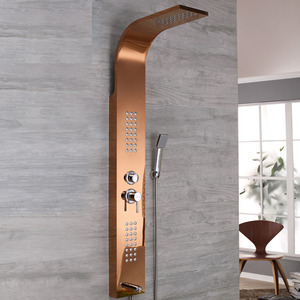 Modern Wall Mount Stainless Steel Rose Gold Shower Faucet