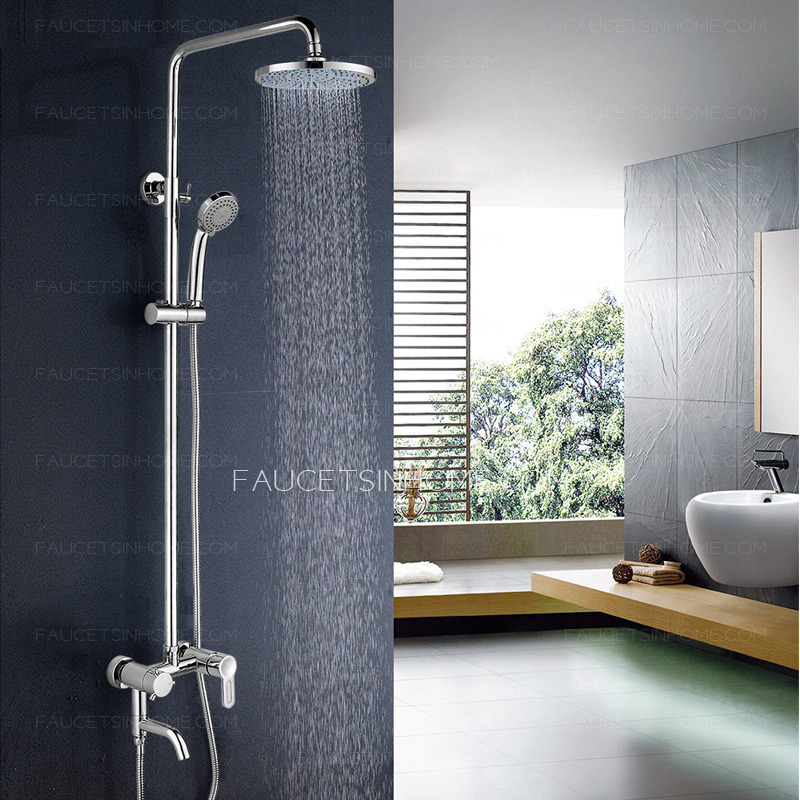 Modern Wall Mount Two Handles Outside Shower Faucet