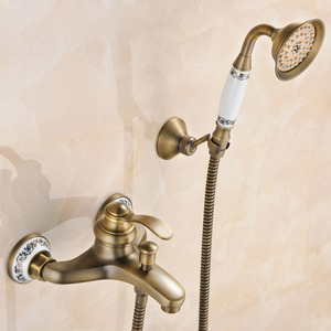 Vintage Wall Mounted Three Holes Shower Faucet For Bathroom