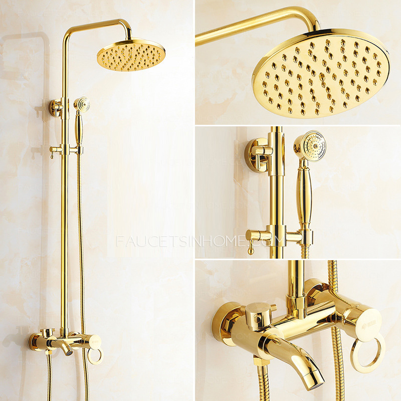 Antique Shower Faucet System Is For Three Holes Wall Mounted Installation,  Has Single Hollow Handle For Cold And Hot Water, A Brass Casting Under  Effulent ...