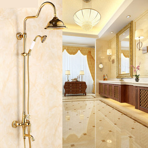 Antique Gold Outdoor Shower Faucet With Top Shower