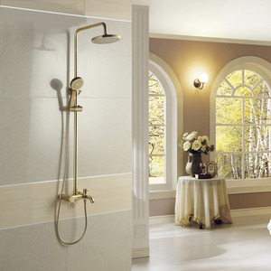 Vintage Gold Elevating Outside Shower Faucet System