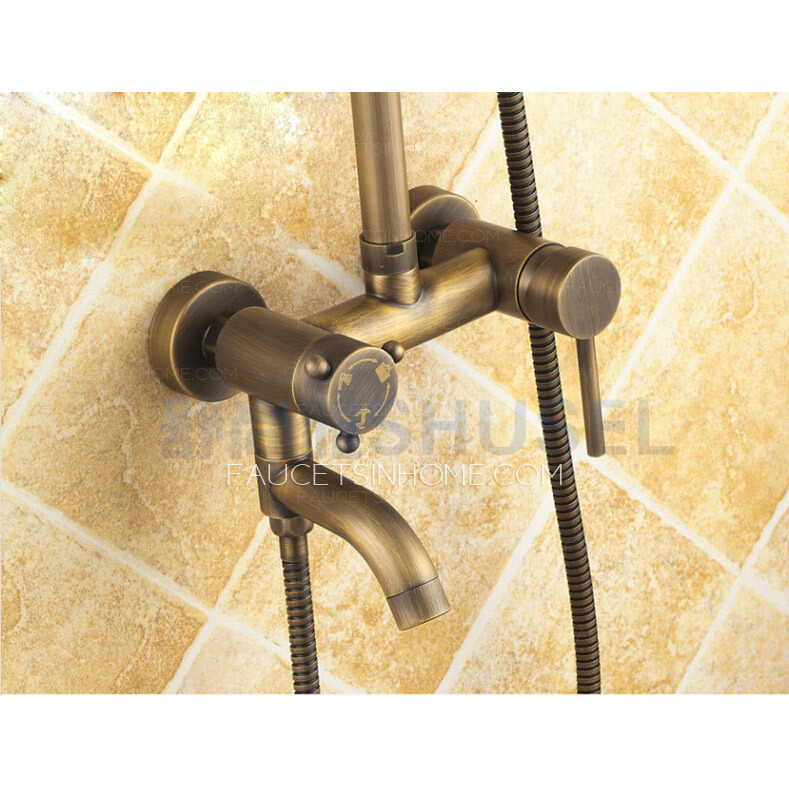 Antique Brass Elevating Automatic Back Outdoor Shower Faucet