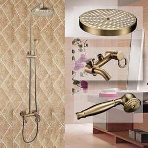 Antique Brass Wall Mount Outside Bathroom Shower Faucet