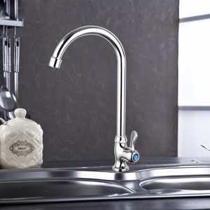 Cheap Tall bent Copper Single Handle Kitchen Sink Faucet