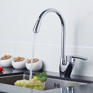 Sleek Copper Rotatable Chrome Kitchen Sink Faucet