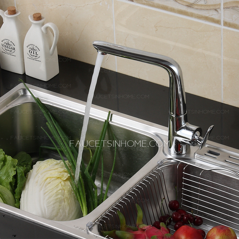 Modern Sleek One Hole Single Handle Kitchen Faucet