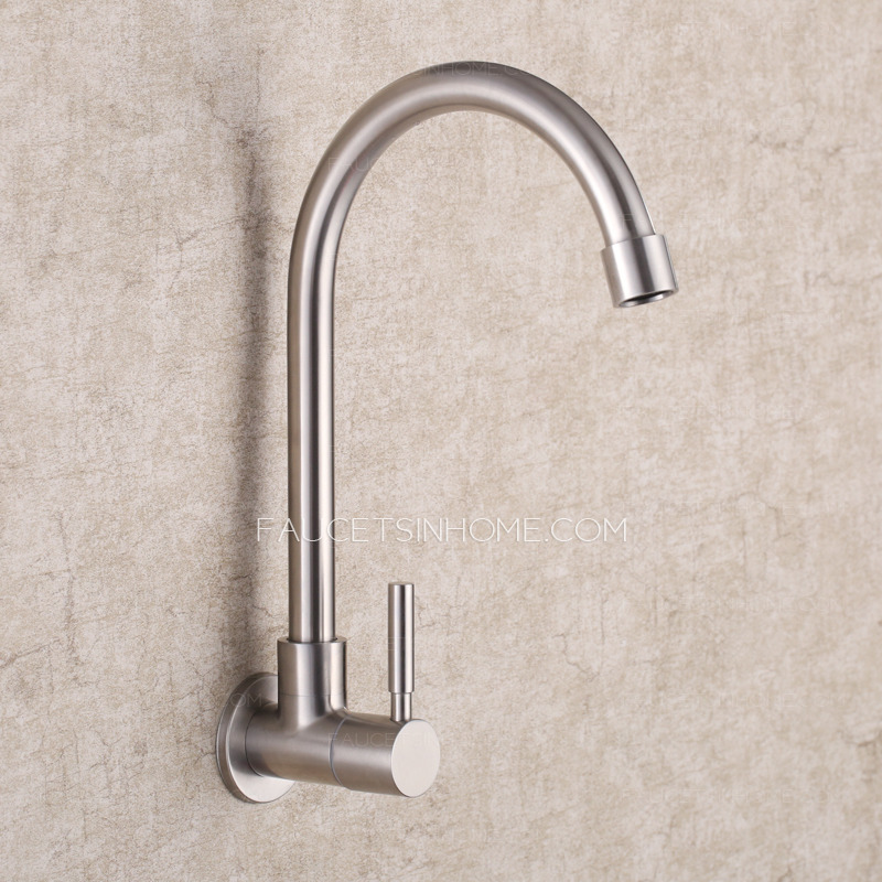 Modern Wall Mount Polished Nickel Rotatable Kitchen Faucet