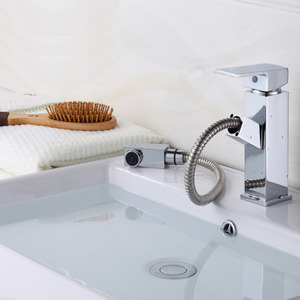 Modern Pullout Spray Square Shaped Bathroom Sink Faucet