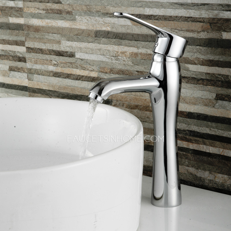 Discount Bathroom Sinks And Toilets: Discount Vessel Copper Tall Bathroom Single Handle Sink Faucet