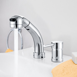 Modern Pullout Spray Two Hole Bathroom Sink Faucet