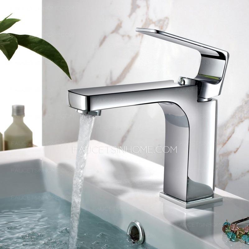 Designed Square Shaped Chrome Sink Faucet For Bathroom