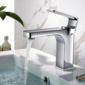 Designed Square Shaped Chrome Sink Faucet For Bathroom