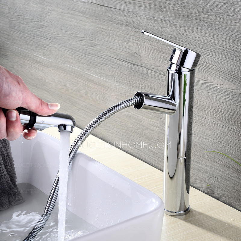 Commercial pullout spray tall vessel bathroom sink faucet - Bathroom sink faucet with sprayer ...