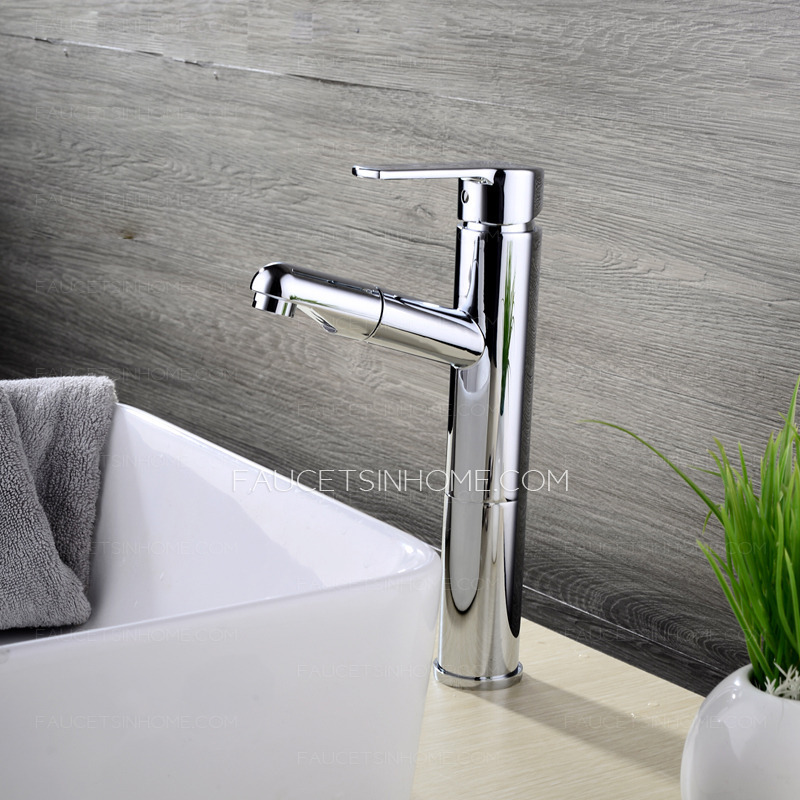 Commercial Pullout Spray Tall Vessel Bathroom Sink Faucet