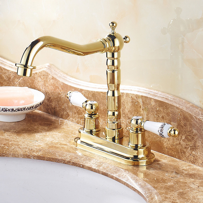 Vintage Two Handles Polished Brass Bathroom Sink Faucet