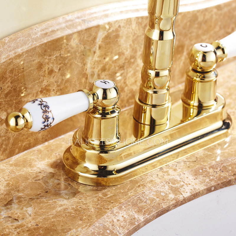 Vintage Two Handles Polished Brass Bathroom Sink Faucet