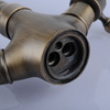 Vintage Tall Vessel Mount Antique Brass Bathroom Sink Faucet
