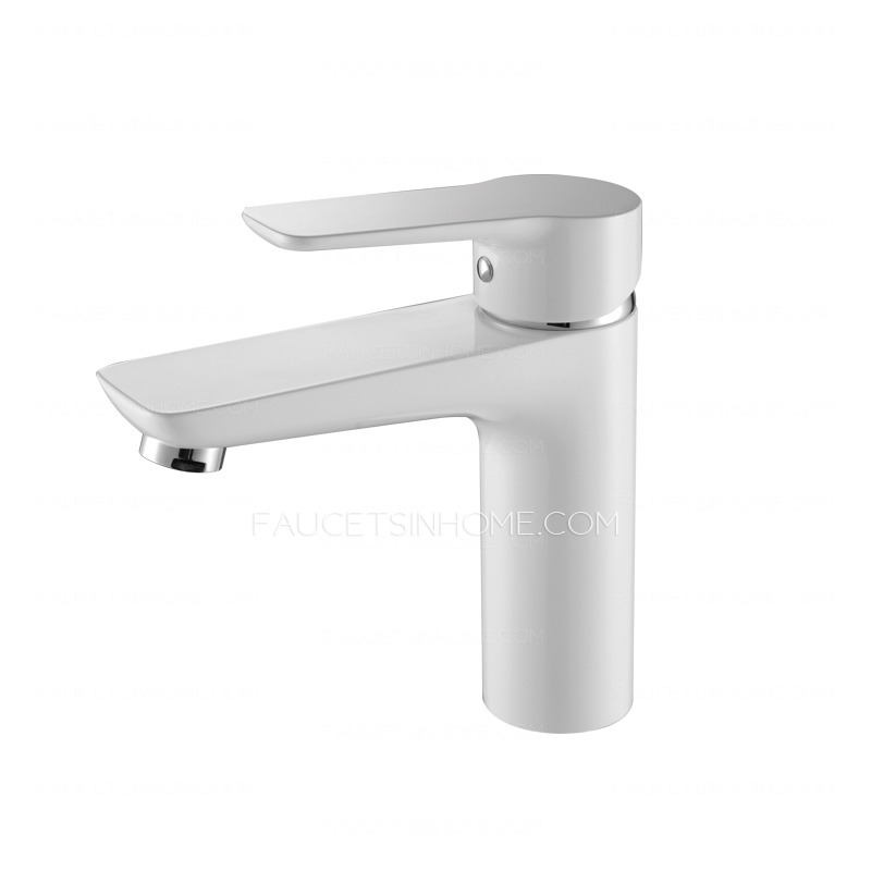 Modern white porcelain deck mounted bathroom sink faucet for White porcelain bathroom faucets
