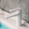 Modern White Porcelain Deck Mounted Bathroom Sink Faucet