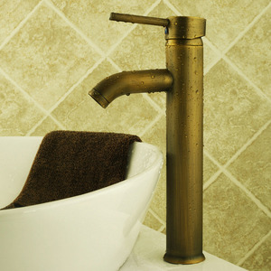 Simple Tall Vessel Mount Brass Bathroom Sink Faucet
