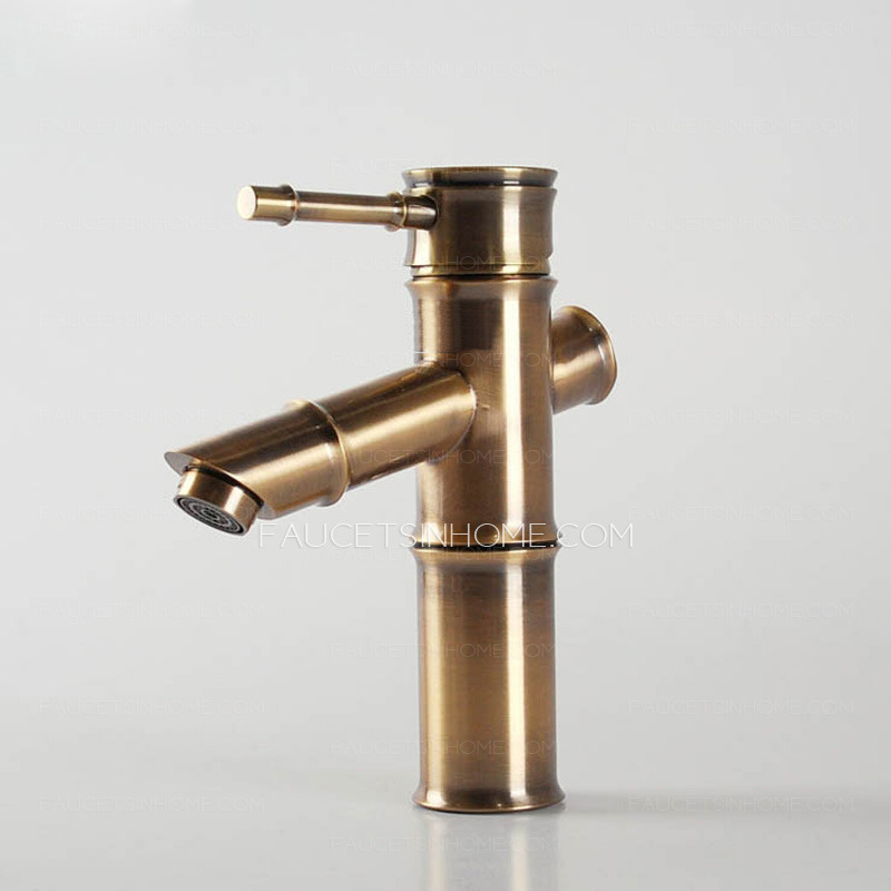 Antique Bronze Bamboo Shaped Bathroom Sink Faucet