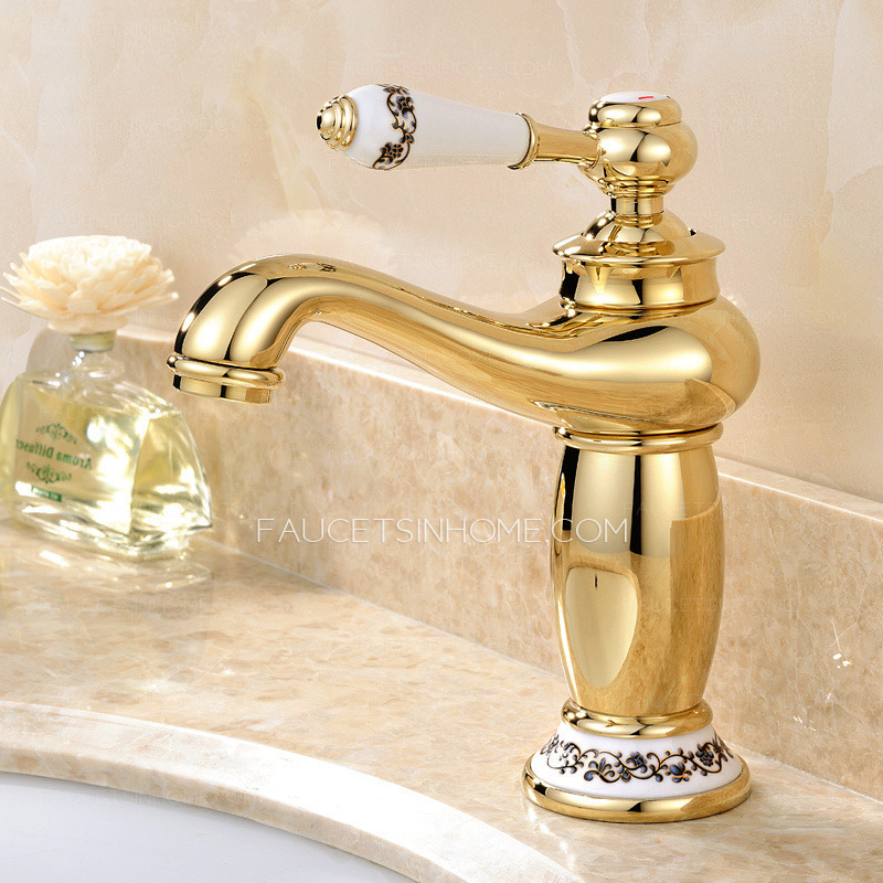Antique Gold Polished Brass Single Handle Bathroom Faucet