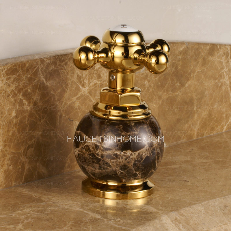Antique Gold Marble Handle Three Hole Bathroom Sink Faucet