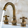 Vintage Antique Copper Three Holes Two Handle Faucet For Bathroom